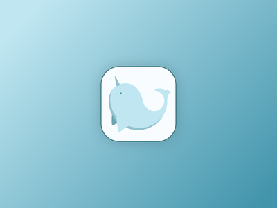 Narley the Narwhal android blue whale logo icon app narwhal