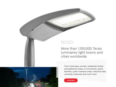 Lighting products homepage mockup