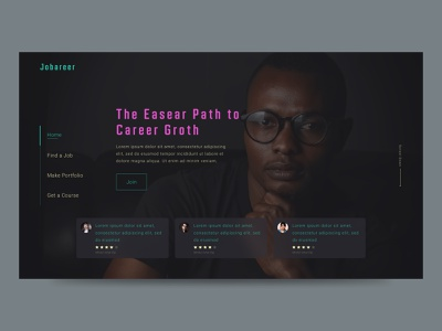 Jobareer - Job & career solution web concept glassmorphism trendy dark career job web minimal ux ui design