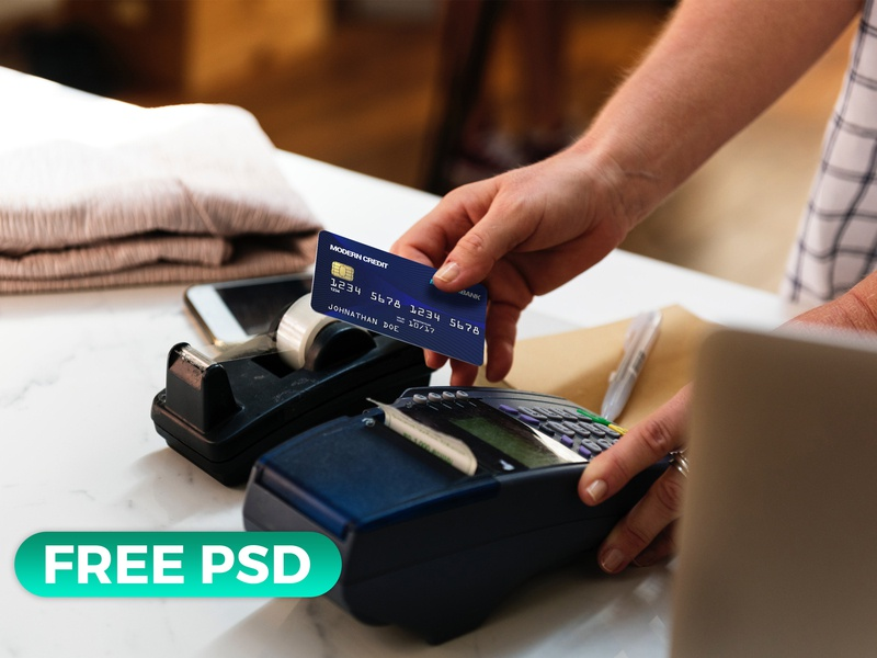 Free Credit Card in Hand Mock Up photoshop psd presentation freebie psd mockup in hand card credit free