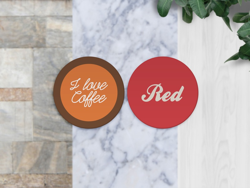 Round Coaster Mockup drinks protector food creative photo realistic clean professional psd mockup coaster circled round