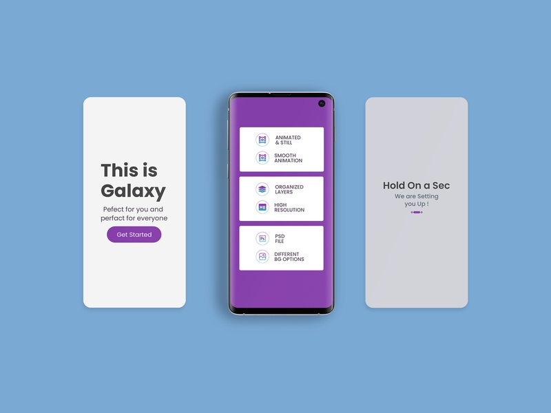 Animated Smartphone App Mockup samsung galaxy s10 psd screen display mockup design web ux ui view presnation app smartphone animated