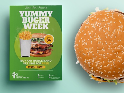 Food Promotion Flyer / Poster Template take away shop restaurant red promotion print poster pizza offer modern green fries food court food flyer fast coke chicken burger a4