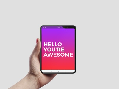 Galaxy Fold in Hand Mockup web wallpaper ui tablet smartphone samsung professional presentation premium phablet mockups mockup mobile in hand holding hand galaxy fold clean app