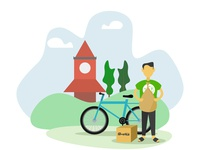 Grocery Delivery Man Illustration ali amzad clock sylhet delivery man character boxes package grocery app local illustration man delivery grocery