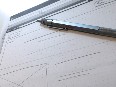 Initial Sketching pencil rotring 600 rough sketch wireframe