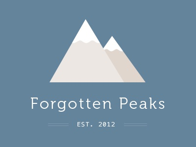 Forgotten Peaks branding flat museo mountains blue snow