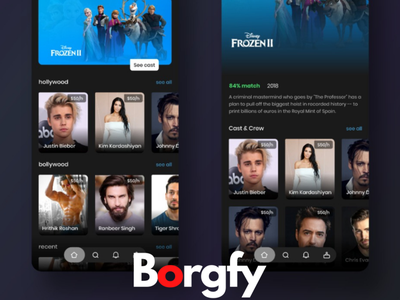 Borgfy celebrity entertainment illustrator web typography branding app design