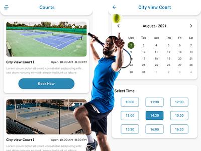 Tennis Court Booking App illustration tennis booking app uiux design uiux sports tennis ui sports app
