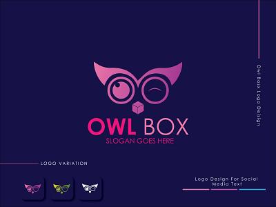 Owl Box Logo Design graphic design flat minimal design icon vector logo web app logo branding chatting logo animal logo