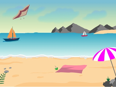 Beach Illustration gradient mountains umbrella beach illustration graphic boat summer beach scene vector art vector illustration adobe illustrator island illustraion beach