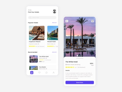 Hotel Booking Mobile App travel userinterface bookig hotelbookingapp hotel illustration ux uiux ui mobile design app