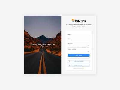Sign up form dekstop travel signup login form website ux ui uiux mobile design app