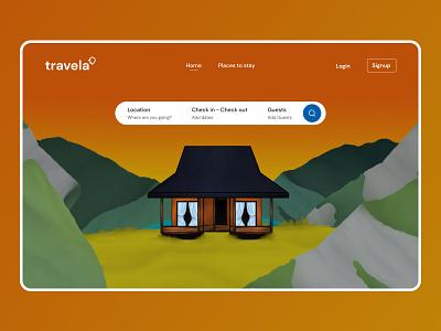 Travela Landing page website web landingpage illustration travel ux ui uiux app design