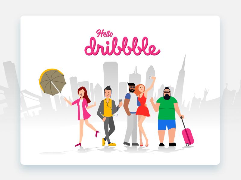 Starting the Dribble Journey! debut draft travel illustration hello