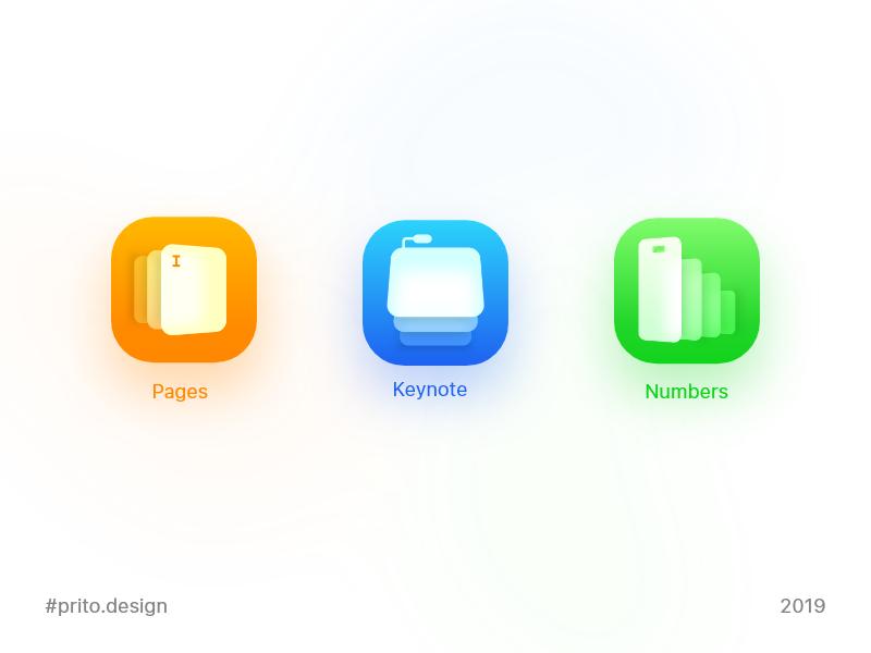 App Icon for iWork gradient cards ios apple numbers keynote pages iwork dailyui005 dailyui