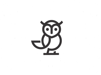 Baby Owl Logo symbol mark flat monoline logo owl baby