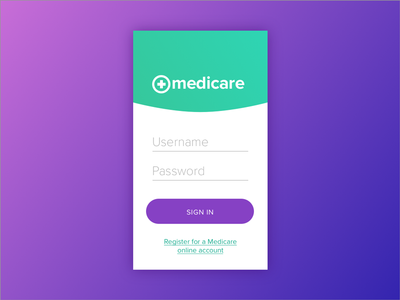 Daily UI #01 Medicare Sign in Form