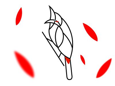 Red-whiskered bulbul Line art logo monoline logo red bird logo bird logo line art