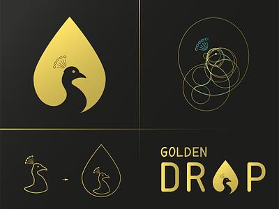 Golden Drop+Peacock Logo iconic logo logotype combination mark peacock logo negative space logo drop logo drop grid logo bird logo bird gold lineart golden bird