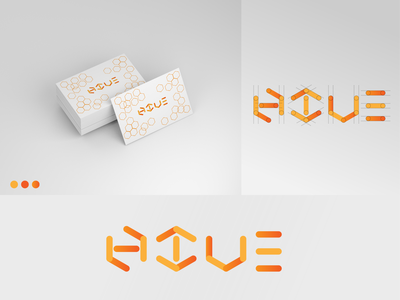 Hive Logo honeycomb food orange color script font logotype logotypes media bee honey hive