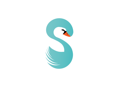 Letter S and Swan logo negative space logo minimalist letter s logo letters abstract logo bird logo
