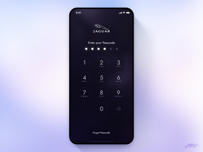 Jaguar Remote App Concept – Passcode mobile app mobile ui ui design uiux dark app ios application interaction lockscreen car jaguar clean app mobile interface minimal design ux ui passcode