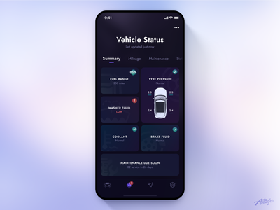 Jaguar Remote App Concept – Vehicle Status mobile design concept remote vehicle uiux dark app ios application interaction car jaguar clean design app mobile interface minimal design ux ui