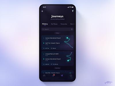 Jaguar Remote Mobile App – Journeys journey ui ux minimal interface mobile design clean jaguar car interaction application ios app dark uiux vehicle remote concept mobile design