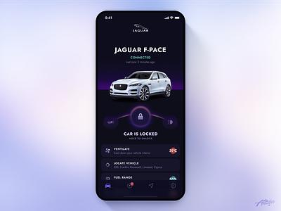 Jaguar Remote App Concept concept ui ux design minimal interface mobile app clean jaguar car interaction application ios dark app uiux ui design mobile ui mobile app