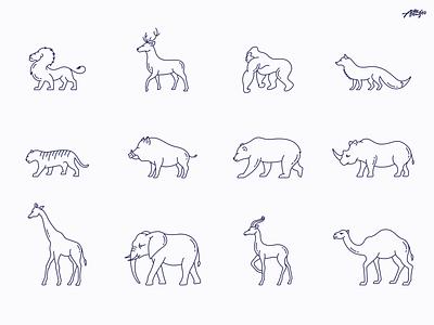Wild Animals Icons rhino bear boar giraffe tiger lion animals fox icon icons icons pack vector outline logo design illustrator minimal graphic design branding illustration