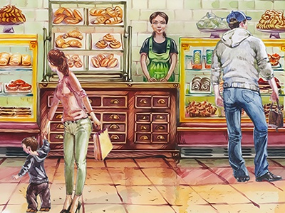 Bakery Website hand drawn web design restaurant culinary food drawing character watercolor bakery illustration cafe website