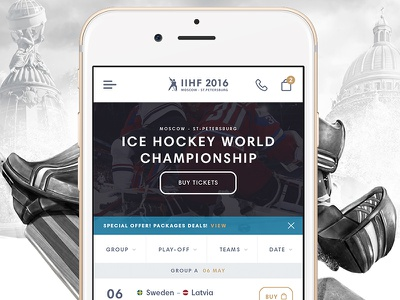 Mobile version: Ice Hockey World Championship 2016 interaction ux ui app minimal interactive mobile ios design hockey sport website