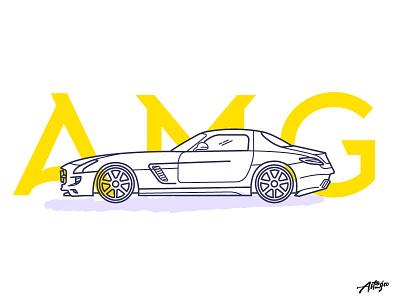 SLS AMG Coupe web cars ux ui illustration graphic minimal icon car mercedes
