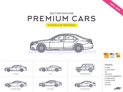 Premium Cars – Mercedes (Vector) web transport premium graphic vector outline illustration benz mercedes icons auto cars