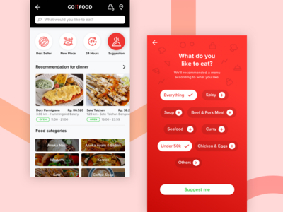 Suggestion Food in GoFood delivery mobile uiux gofood gojek