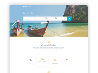 QBIC Travel simple home page web page design clean