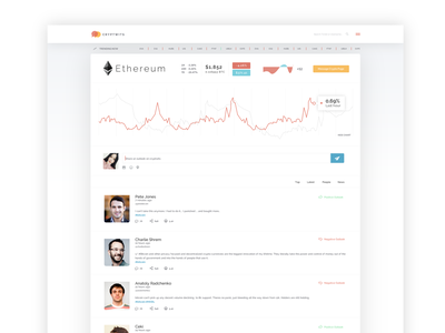 Cryptwits crypto currency clean minimal social media design crypto