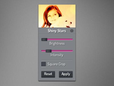 Photo Editor photo effect editor slider options panel photo editor