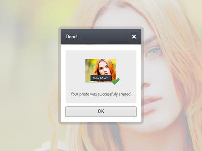Share Successful Dialog window share button thumb thumbnail popup pop up pop-up dialog box dialog box