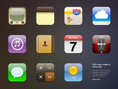 Pure CSS iOS Icons web css icon