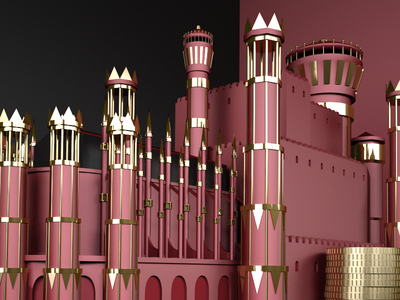 Red Castle detail wip gold red 3d cinema4d game of thrones modelling c4d