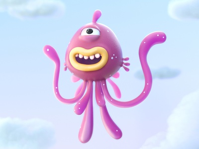 flying Tentacle zbrush octane c4d 3d character cinema4d