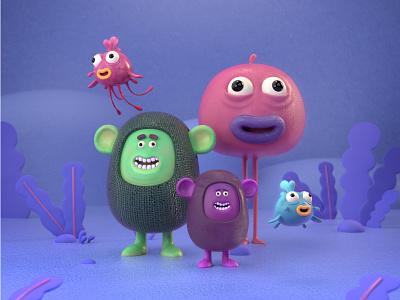 Weird Friends design character octane cinema4d