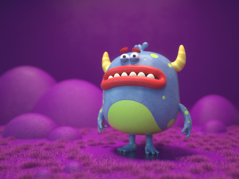 yellow horns 3d character cinema4d