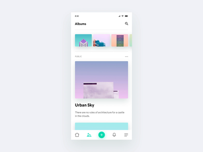Photo Albums Sharing App - Interactions principle for mac photos albums share photo album photo app transitions interaction animation ux ios ui app design