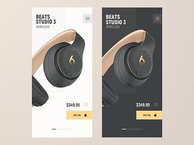 Beats Studio 3 screen design product headphones wireless beats by dre sketch layout elegant simple responsive concept ux ios ui app design