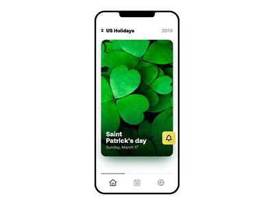 Holidays iOS App principal clean minimal calendar card holiday design concept app ux ui ios