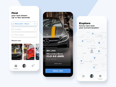Luxury car app luxury cars sell buy car app mininal car concept ux ui design app ios