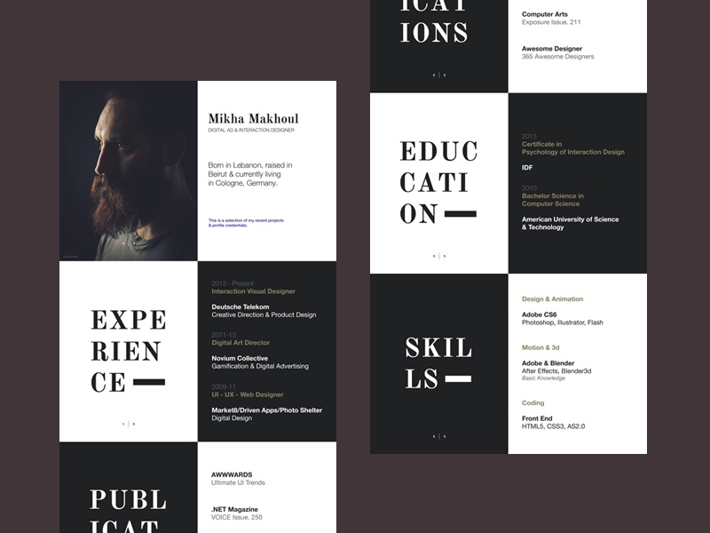 resume by mikha makhoul on dribbble